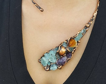 Copper Necklace with Aquamarine, Amethyst, and Citrine
