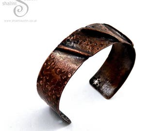 Unisex Copper Cuff: Fold-Formed Bracelet, 7th Anniversary Gift for Her or Him, Handmade in UK
