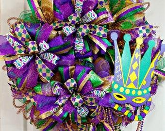 Mardi Gras Wreath, Fat Tuesday, New Orleans, Purple, Gold & Green Wreath, Carnival Wreath, Mardi Gras decorations, Mardi Gras Door Hanger