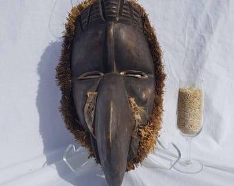 TRIBAL EXOTICS : PREMIUM Authentic fine tribal African Art - Dan Gioh Poro Bird Raffia Wood Mask Figure Sculpture Statue