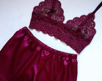 Silk pajamas Wedding lingerie ,Pink lingerie Bridal lingerie Pyajamas women Fashion pajama Satin pajama short Wedding gift Silk sleepwear