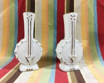 Vintage Ceramic Banjo Salt and Pepper Shakers