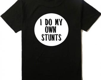 Kids black Stunts graphic tshirt