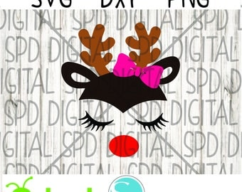 Girl Reindeer with Bow, Christmas svg, girl svg, reindeer svg, SVG, DXF, PNG files for Cameo and Cricut