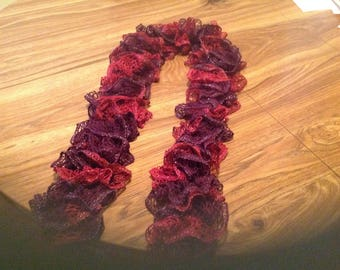 Ruffled Scarf in Maroon & Purple