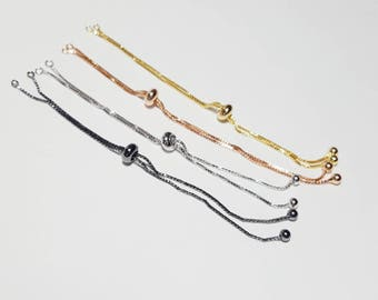 Sliding Adjustable Bracelet Making no tarnish Silver Gold Box Chain With Slider Clasp bolo Bracelet Half finshed Slide Bracelet ball end
