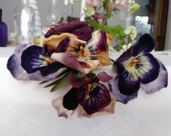 antique velvet pansies