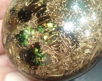 Orgonite pendant with smokey quartz crystal point, black turmalin and aventurin