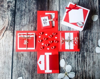 Lovely Box for 14/2 - Valentine's Love Box - Gift Box - Valentine's Explosion Box - Love Box - Scrapbook - Exploding Box