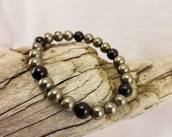 8mm Pyrite and Black Onyx bracelet