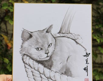 Tradition Chinese Ink Painting, Original Painting, Sumi-E Cat 04
