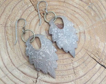 Natural Brass Leaf Earrings with Embossed Floral Design