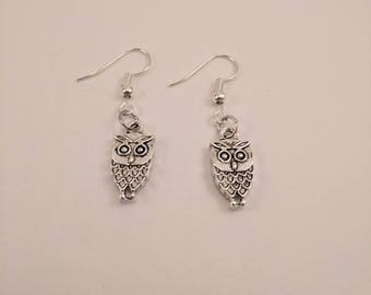 Little Silver Skinny Owl Dangle Earrings
