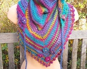 Pretty Hand-Crocheted Triangle Scarf