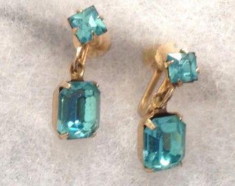Vintage! Coro gold tone w faux aquamarine dangle screw on earrings