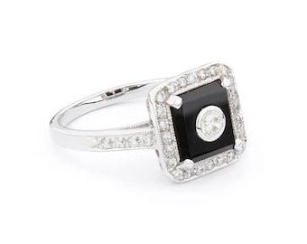 Ingrid Ring | Onyx, Cubic Zirconia & Sterling Silver