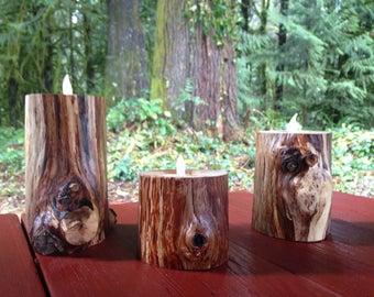 Rustic Wood Tealight Set
