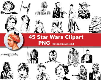 45 Star Wars Silhouettes- clip art - Scrapbooking , Instant Download