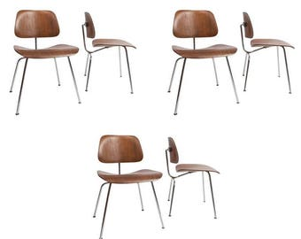 set of 6 early charles eames for evans products company molded plywood dining chair