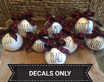 Rae Dunn Inspired Ornament DECALS, DECALS ONLY, Rae Dunn Decals, Rae Dunn,  Fast Shipping!