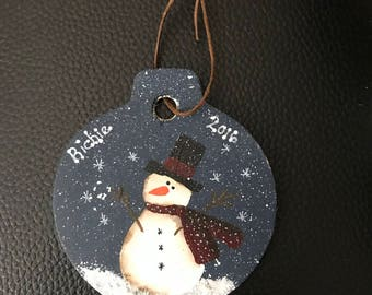 Personalized Hand painted Ornaments on Wood or Rusty Tin