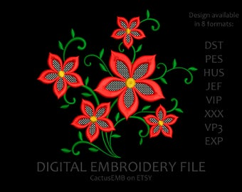 INSTANT DOWNLOAD - Flower Lace Pattern machine embroidery design. Flowers embroidery. Embroidery design