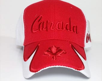 Canadian Maple Leaf Embroidery on a Red and White  Cap.  Canada hat with embroidery design. Canada Souvenir Cap
