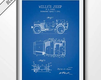 WILLY'S JEEP patent print, jeep poster, jeep blueprint, jeep printable, garage decor, military gift, army vecihle prints, ww2 memorabilia
