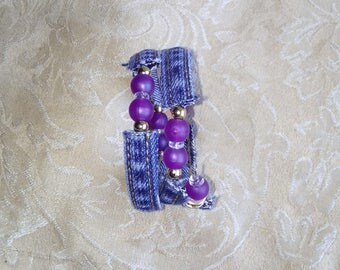 wire wrap bracelet purple and gold