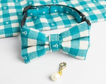 Green cat collar/ bowtie (removable) with a pearl charm