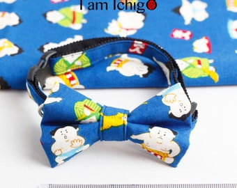 Sumo wrestler cat bowtie / collar with a lucky cat bell!