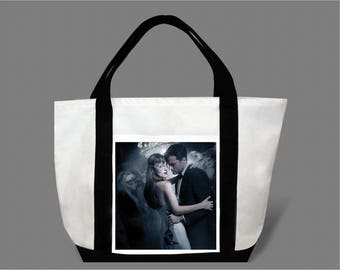 Dakota Johnson Jamie Dornan Canvas Tote Bag #0001