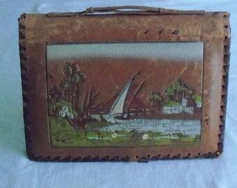 Vintage Leather Egyptian Tooled Handbag