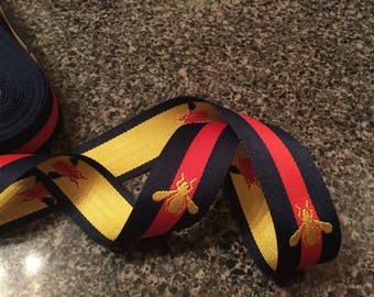 """1"""" Navy Red Yellow Stripe Embroidered Reversible Bumble Bee Grosgrain Ribbon 1 Yard High Quality DIY Hat Belt Ribbon Headband Free Shipping"""