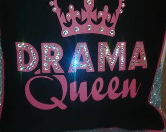Drama Queen Cushion cover in Pink & Black enhanced with Crystals