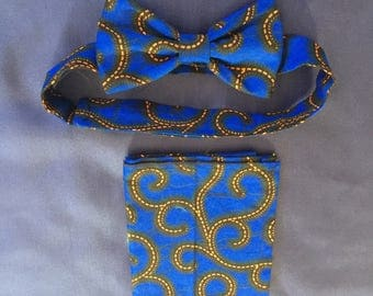 African print bowtie with pocket square