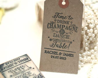 Save the Date Stamp for Wedding, Parties and Celebrations with text Drink Champagne, Wedding Stamp