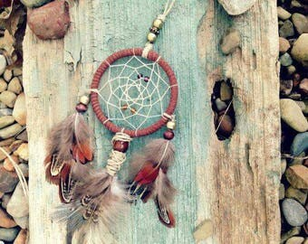 Earth bound Car Dream Catcher brown Car Rear Mirror Dreamcatcher Small wall decor wall hanging