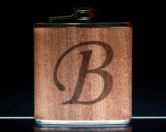 Wood Covered Stainless Steel Flask Personalized