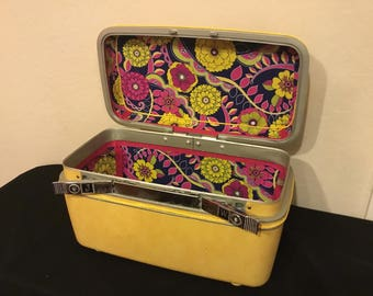 Yellow Repurposed Train Case