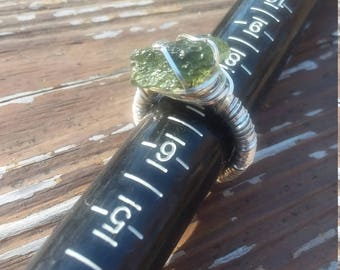 Moldavite .995 silver wire wrapped ring