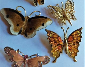 butterfly brooch & pin lot