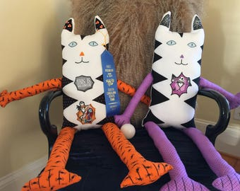 Jack and Salley Cat Dolls - Pair -  One of a kind - Nightmare before Christmas
