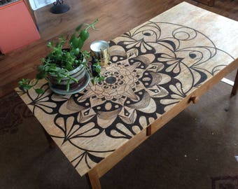 Woodburned Coffe Table