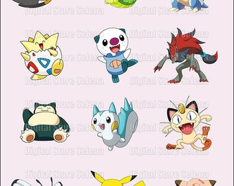 Pokemon. Clipart. Image. Digital art. 12 files. PNG. Instant Download.
