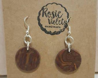 Wood effect polymer clay drop earrings
