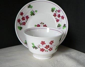 Antique Soft Paste Porcelain Tea Bowl and Saucer