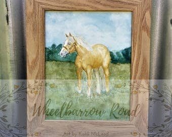 Palomino Horse - Original watercolour by Kahli McLeod - Quarter Horse - Watercolor - Horse standing in paddock - Green field - Blonde