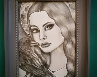 Pencil drawings of woman with raven