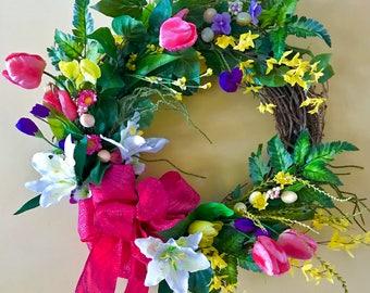 Easter Wreath, Spring Wreath, Pink Ribbon Wreath, Tulips Wreath, Front Door Wreath, Grapevine Wreath